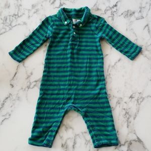 Green/Blue Striped Polo Rompers, Size 3-6 Months